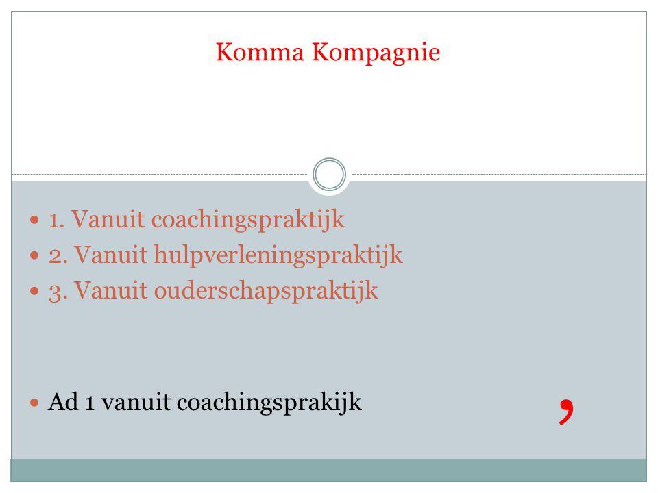 1. Vanuit coachingspraktijk 2. Vanuit hulpverleningspraktijk 3. Vanuit ouderschapspraktijk Ad 1 vanuit coachingsprakijk,