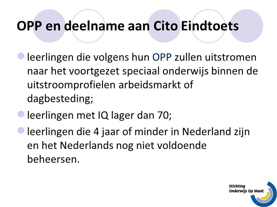 OPP en deelname aan Cito Eindtoets leerlingen die volgens hun OPP zullen uitstromen naar het voortgezet speciaal onderwijs binnen de uitstroomprofiele