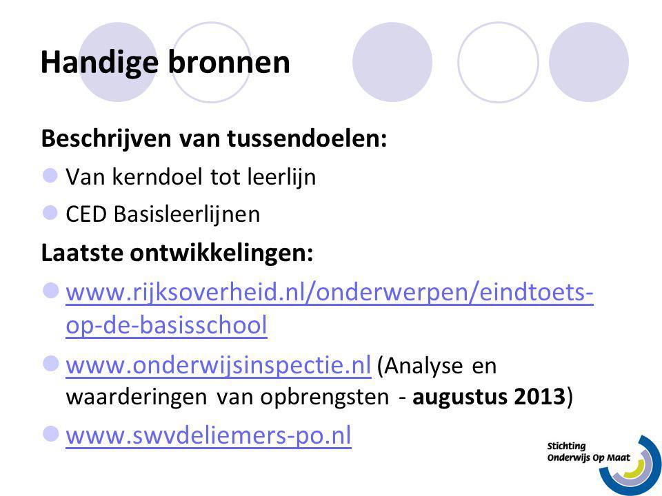 Handige bronnen Beschrijven van tussendoelen: Van kerndoel tot leerlijn CED Basisleerlijnen Laatste ontwikkelingen: www.rijksoverheid.nl/onderwerpen/e