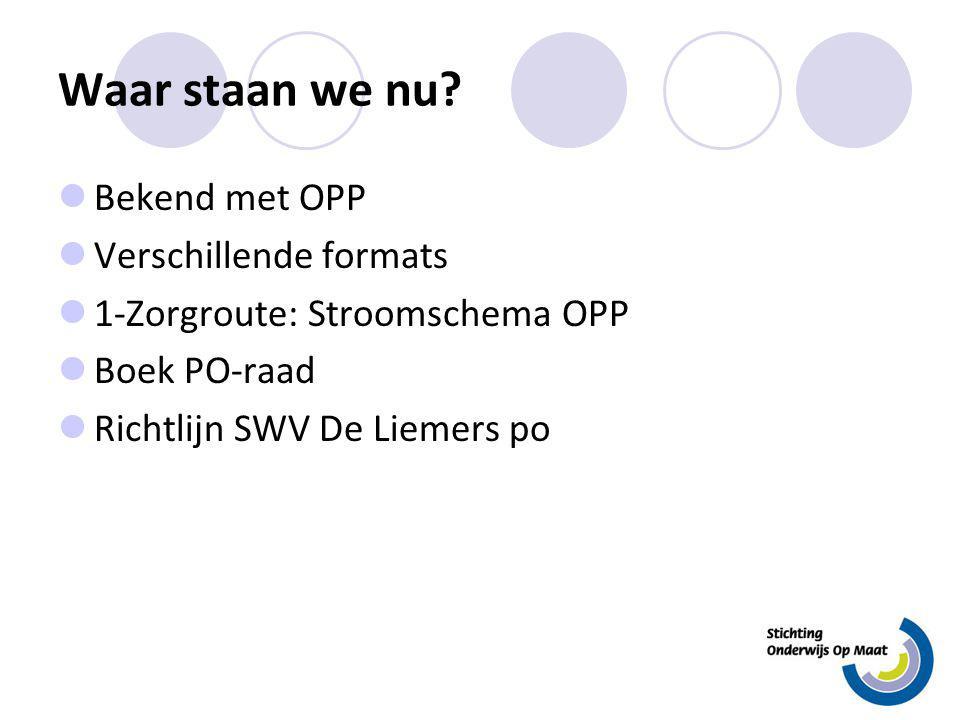 Waar staan we nu? Bekend met OPP Verschillende formats 1-Zorgroute: Stroomschema OPP Boek PO-raad Richtlijn SWV De Liemers po