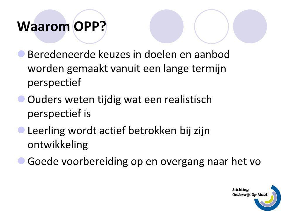 Waarom OPP? Beredeneerde keuzes in doelen en aanbod worden gemaakt vanuit een lange termijn perspectief Ouders weten tijdig wat een realistisch perspe