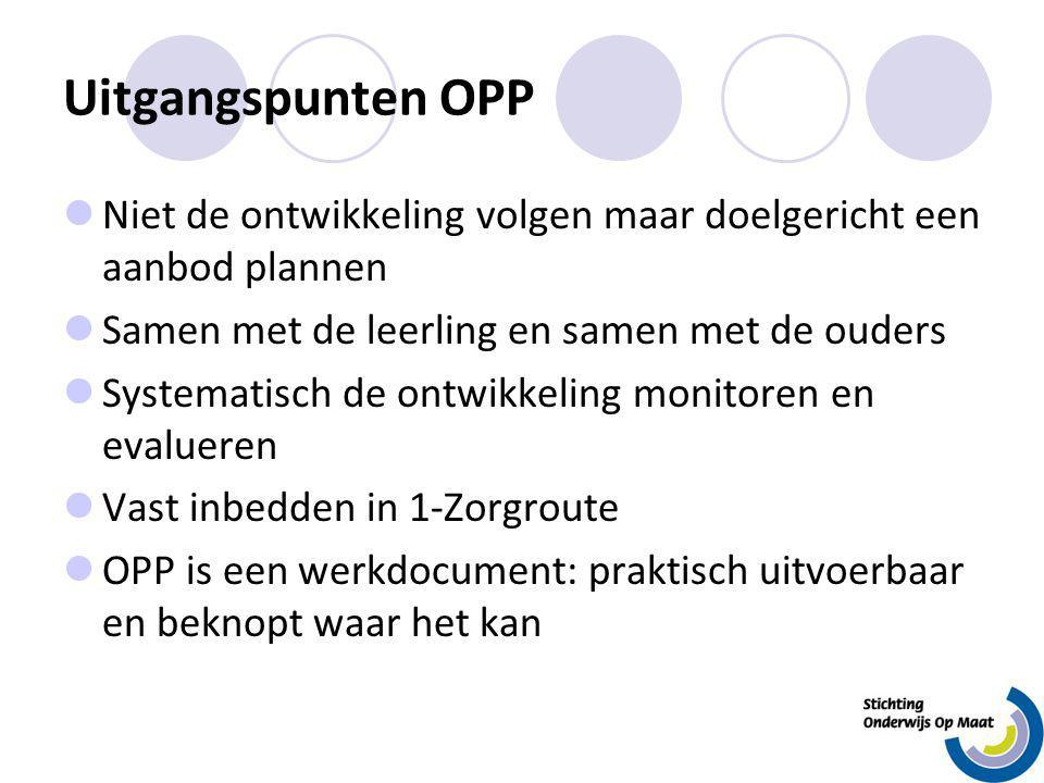Uitgangspunten OPP Niet de ontwikkeling volgen maar doelgericht een aanbod plannen Samen met de leerling en samen met de ouders Systematisch de ontwik