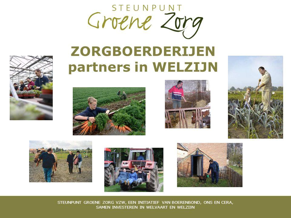 STEUNPUNT GROENE ZORG VZW, EEN INITIATIEF VAN BOERENBOND, GROEP KVLV EN CERA, SAMEN INVESTEREN IN WELVAART EN WELZIJN CONTACTGEGEVENS Steunpunt Groene Zorg www.groenezorg.be Steunpunt Groene Zorg Limburg en Vlaams- Brabant Katlijn Vander Meeren Remylaan 4b 3018 Wijgmaal Tel 016/24.49.22 GSM 0477/63.29.88 Mail kvandermeeren@groenezorg.bekvandermeeren@groenezorg.be