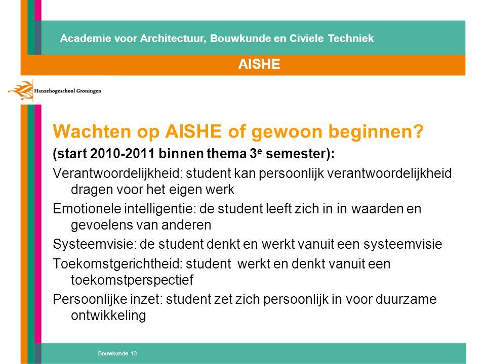 Wachten op AISHE of gewoon beginnen? (start 2010-2011 binnen thema 3 e semester): Verantwoordelijkheid: student kan persoonlijk verantwoordelijkheid d