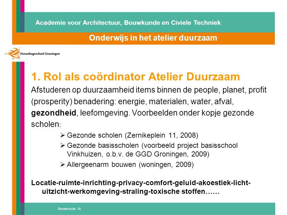 1. Rol als coördinator Atelier Duurzaam Afstuderen op duurzaamheid items binnen de people, planet, profit (prosperity) benadering: energie, materialen