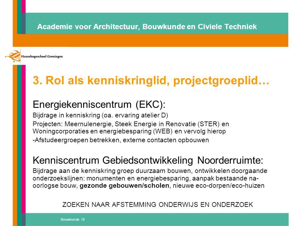 Bouwkunde 18 Academie voor Architectuur, Bouwkunde en Civiele Techniek 3. Rol als kenniskringlid, projectgroeplid… Energiekenniscentrum (EKC): Bijdrag
