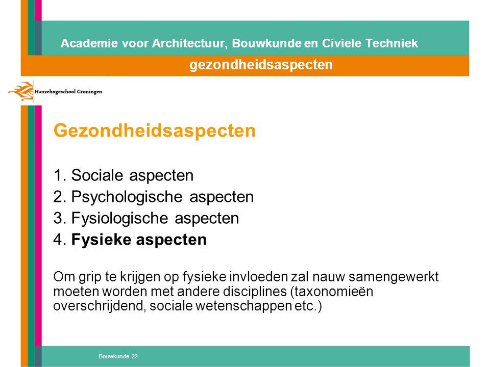 Bouwkunde 22 Academie voor Architectuur, Bouwkunde en Civiele Techniek gezondheidsaspecten Gezondheidsaspecten 1. Sociale aspecten 2. Psychologische a
