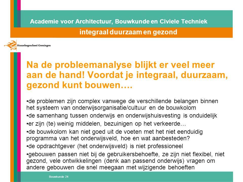 Bouwkunde 24 Academie voor Architectuur, Bouwkunde en Civiele Techniek integraal duurzaam en gezond Atelier 'D' Na de probleemanalyse blijkt er veel m
