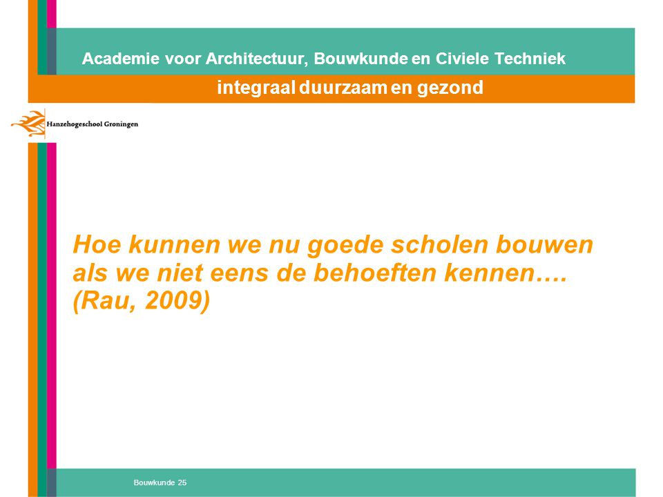 Bouwkunde 25 Academie voor Architectuur, Bouwkunde en Civiele Techniek integraal duurzaam en gezond Atelier 'D' Hoe kunnen we nu goede scholen bouwen