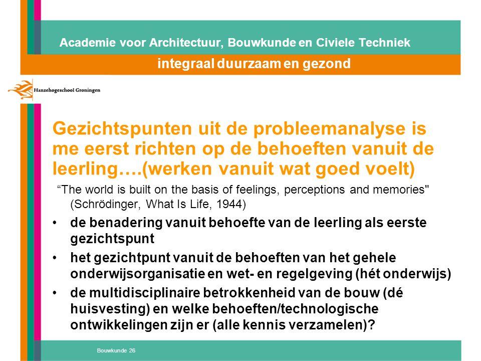 Bouwkunde 26 Academie voor Architectuur, Bouwkunde en Civiele Techniek integraal duurzaam en gezond Atelier 'D' Gezichtspunten uit de probleemanalyse