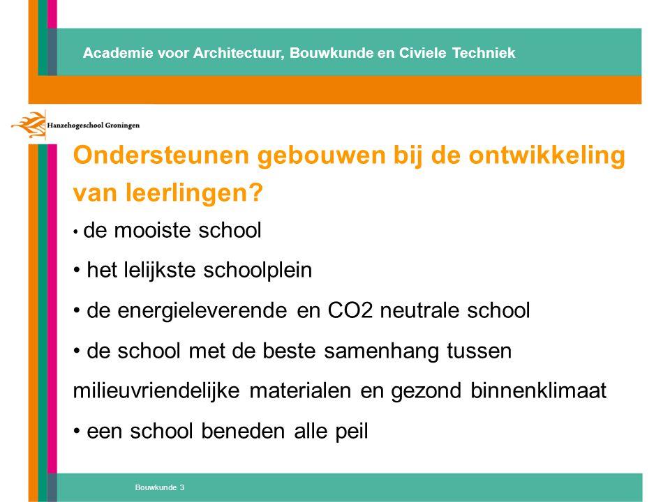 Ondersteunen gebouwen bij de ontwikkeling van leerlingen? de mooiste school het lelijkste schoolplein de energieleverende en CO2 neutrale school de sc