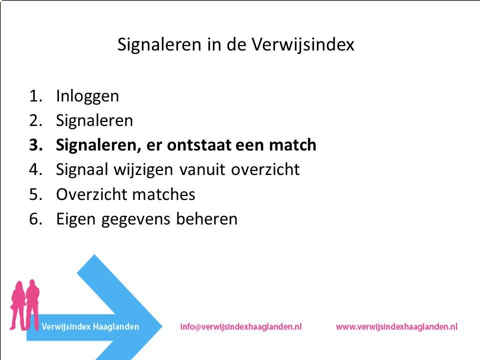 Signaleren in de Verwijsindex 1.Inloggen 2.Signaleren 3.Signaleren, er ontstaat een match 4.Signaal wijzigen vanuit overzicht 5.Overzicht matches 6.Eigen gegevens beheren