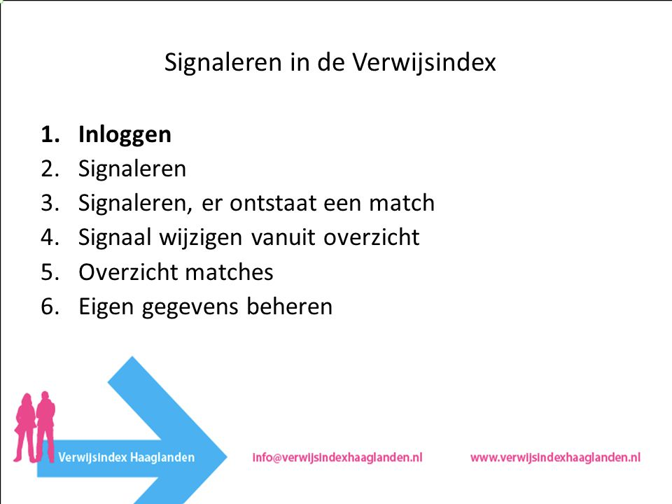 1.Inloggen 2.Signaleren 3.Signaleren, er ontstaat een match 4.Signaal wijzigen vanuit overzicht 5.Overzicht matches 6.Eigen gegevens beheren