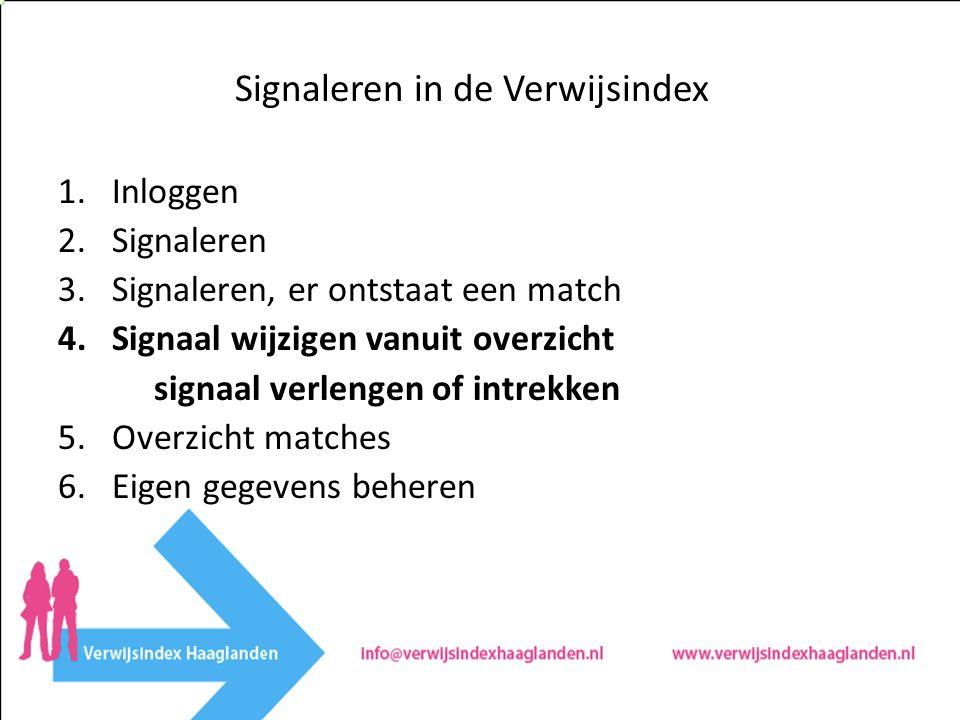 Signaleren in de Verwijsindex 1.Inloggen 2.Signaleren 3.Signaleren, er ontstaat een match 4.Signaal wijzigen vanuit overzicht signaal verlengen of intrekken 5.Overzicht matches 6.Eigen gegevens beheren