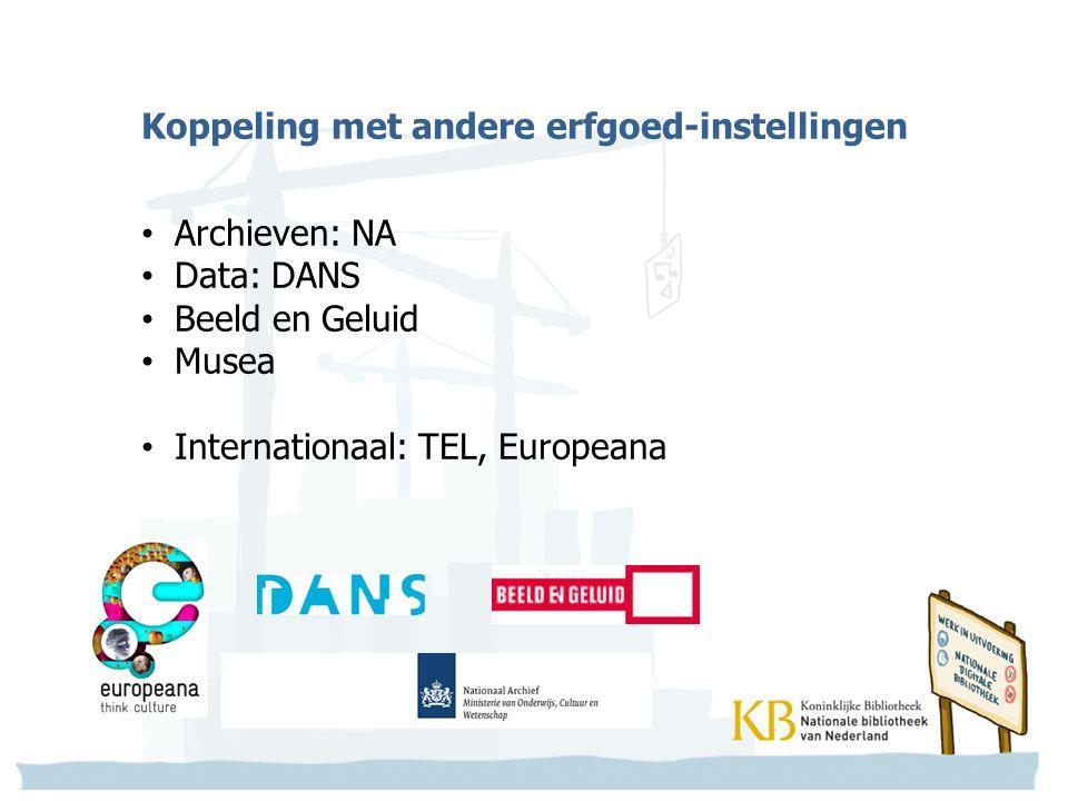 Koppeling met andere erfgoed-instellingen Archieven: NA Data: DANS Beeld en Geluid Musea Internationaal: TEL, Europeana