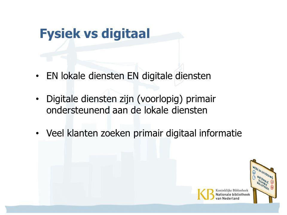 Fysiek vs digitaal EN lokale diensten EN digitale diensten Digitale diensten zijn (voorlopig) primair ondersteunend aan de lokale diensten Veel klanten zoeken primair digitaal informatie