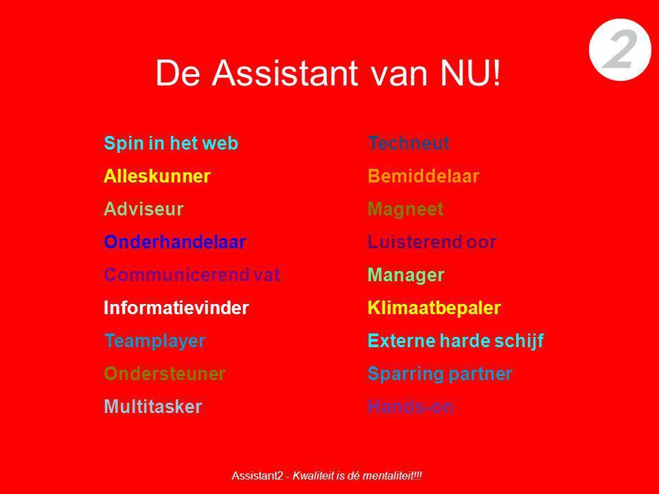 De Assistant van NU! Spin in het webTechneut AlleskunnerBemiddelaar AdviseurMagneet OnderhandelaarLuisterend oor Communicerend vatManager Informatievi