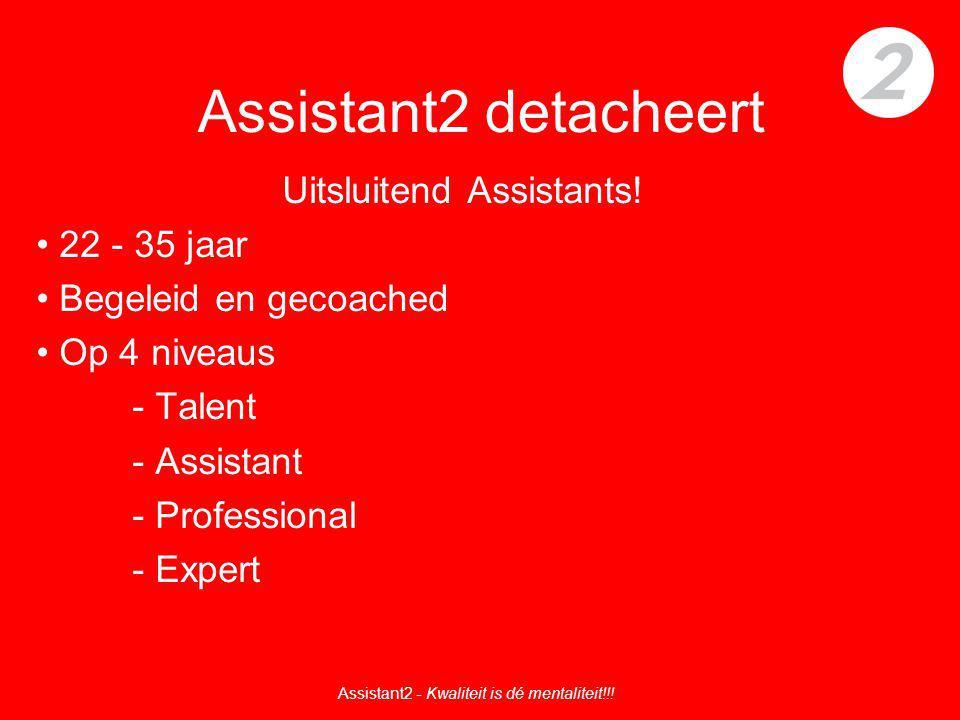 Assistant2 detacheert Uitsluitend Assistants! 22 - 35 jaar Begeleid en gecoached Op 4 niveaus - Talent - Assistant - Professional - Expert Assistant2