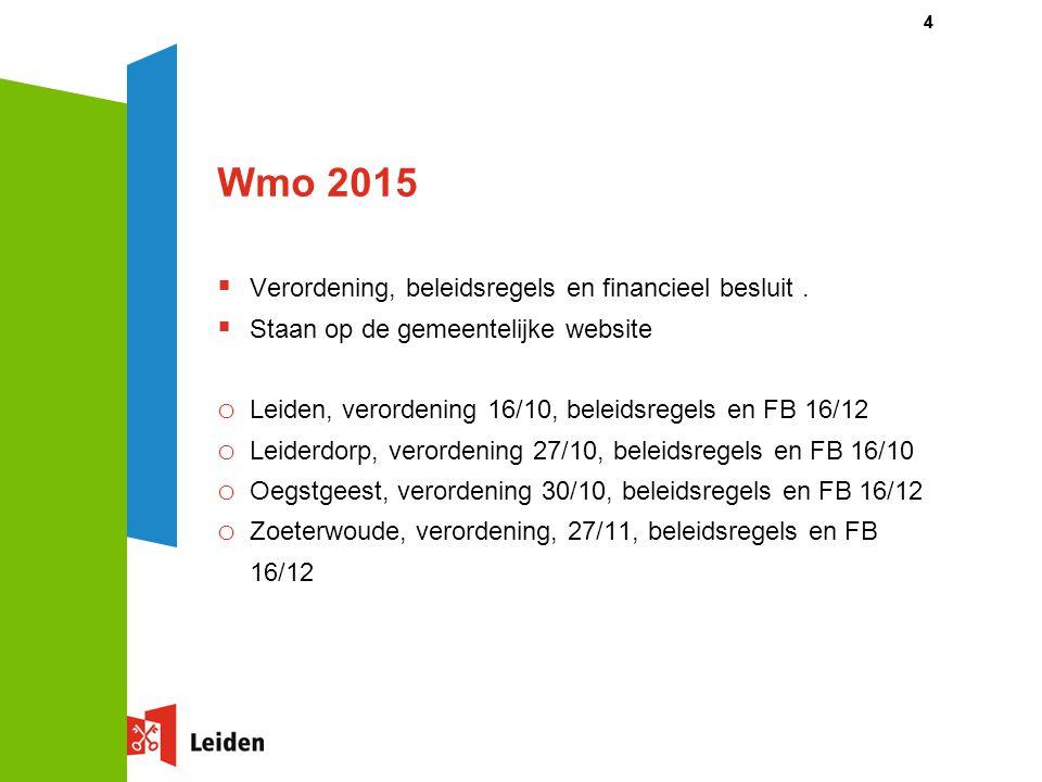 Wmo 2015  Verordening, beleidsregels en financieel besluit.  Staan op de gemeentelijke website o Leiden, verordening 16/10, beleidsregels en FB 16/1