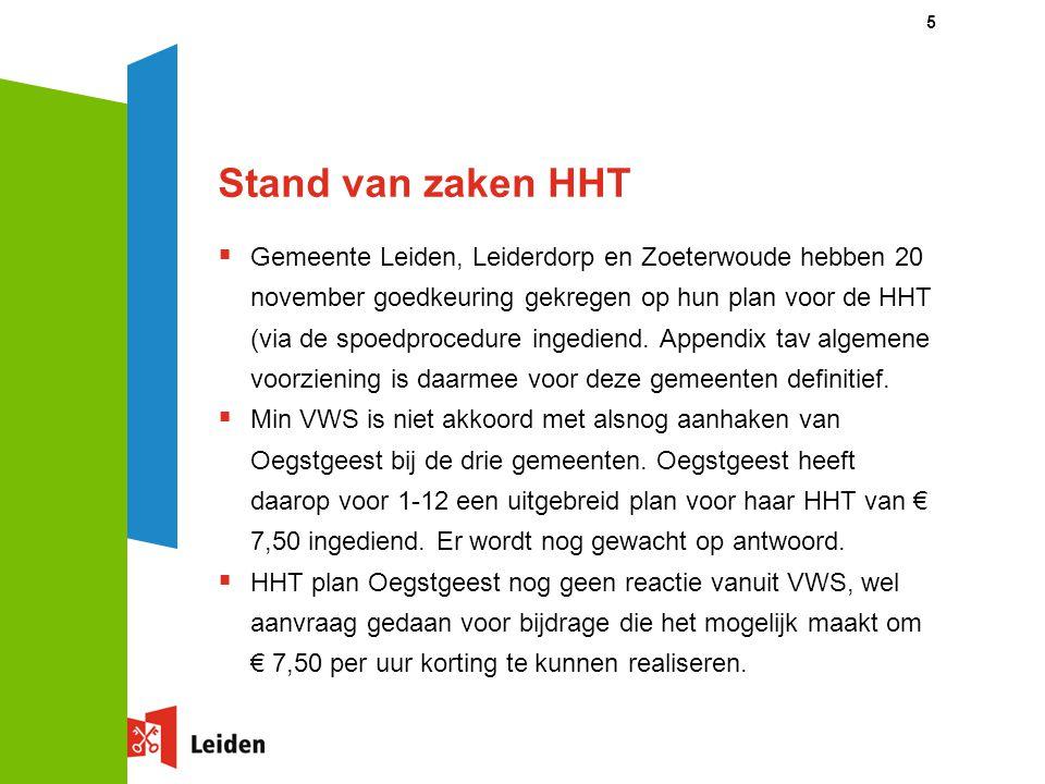Stand van zaken HHT  Gemeente Leiden, Leiderdorp en Zoeterwoude hebben 20 november goedkeuring gekregen op hun plan voor de HHT (via de spoedprocedur