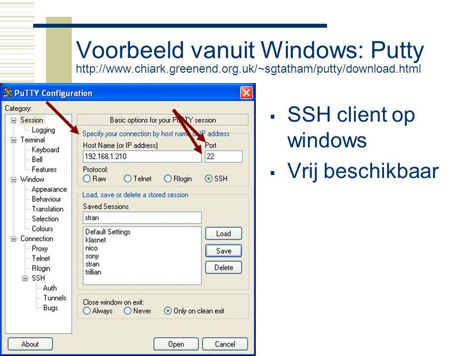 Raspberry-Pi9 Voorbeeld vanuit Windows: Putty http://www.chiark.greenend.org.uk/~sgtatham/putty/download.html  SSH client op windows  Vrij beschikba