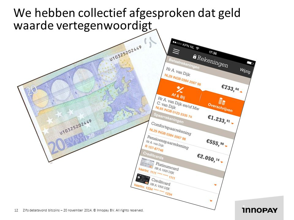 12 Zifo debatavond bitcoins – 20 november 2014. © Innopay BV. All rights reserved. R 255 G 135 B 0 R 135 G 204 B 0 R 0 G 135 B 255 We hebben collectie