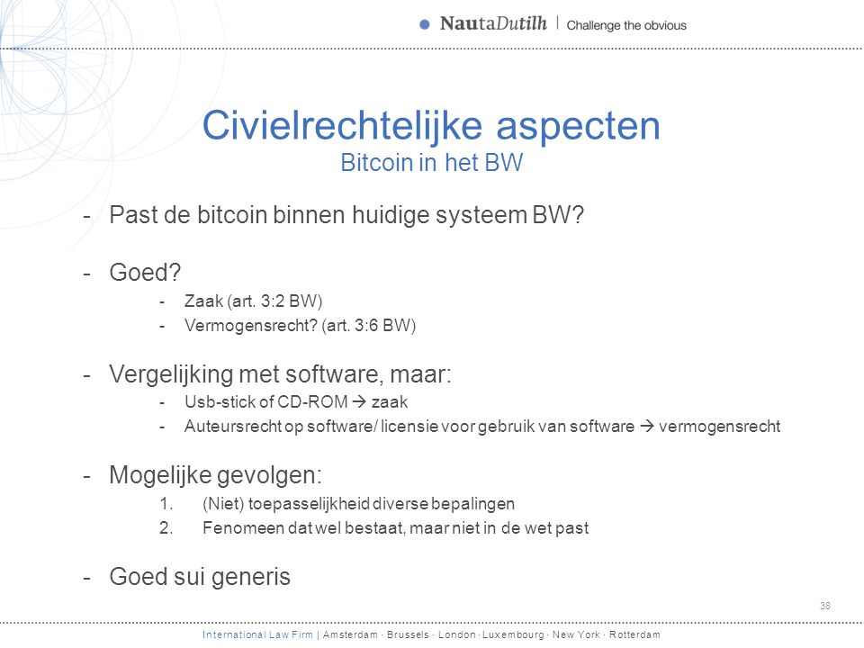 International Law Firm | Amsterdam · Brussels · London · Luxembourg · New York · Rotterdam Civielrechtelijke aspecten Bitcoin in het BW -Past de bitco