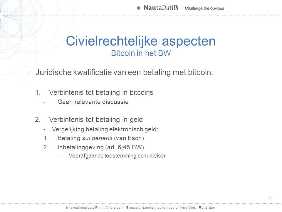 International Law Firm | Amsterdam · Brussels · London · Luxembourg · New York · Rotterdam Civielrechtelijke aspecten Bitcoin in het BW -Juridische kw