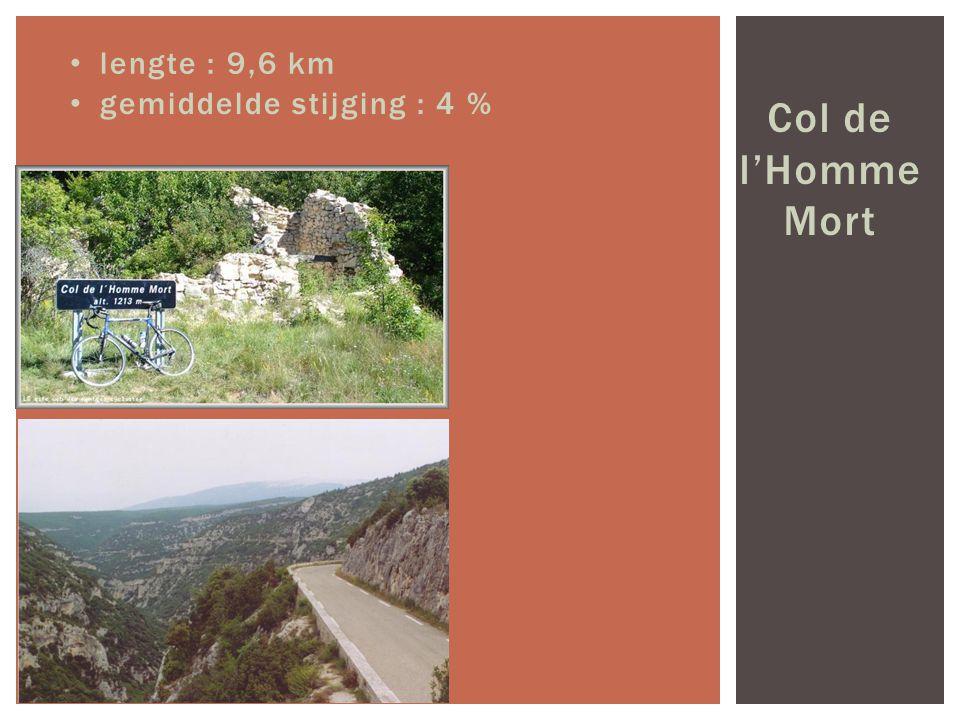 Col de l'Homme Mort lengte : 9,6 km gemiddelde stijging : 4 %