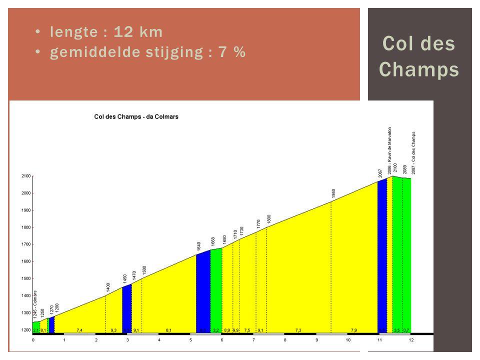 Col des Champs lengte : 12 km gemiddelde stijging : 7 %