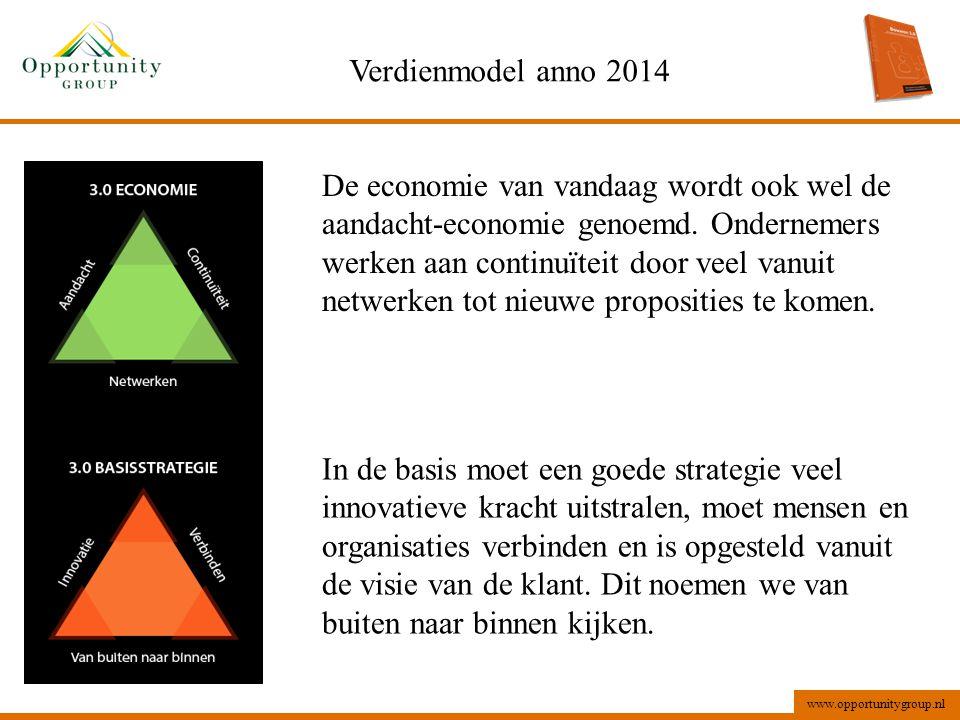 www.opportunitygroup.nl Verdienmodel anno 2014 De economie van vandaag wordt ook wel de aandacht-economie genoemd. Ondernemers werken aan continuïteit