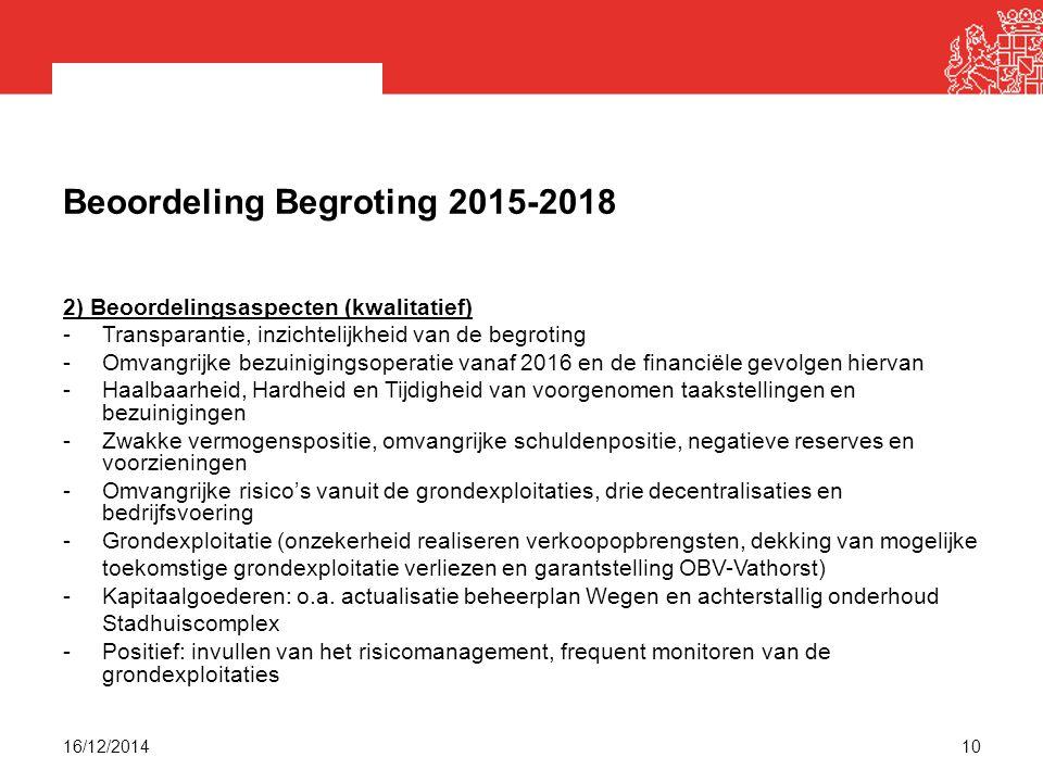 Beoordeling Begroting 2015-2018 2) Beoordelingsaspecten (kwalitatief) -Transparantie, inzichtelijkheid van de begroting -Omvangrijke bezuinigingsoperatie vanaf 2016 en de financiële gevolgen hiervan -Haalbaarheid, Hardheid en Tijdigheid van voorgenomen taakstellingen en bezuinigingen -Zwakke vermogenspositie, omvangrijke schuldenpositie, negatieve reserves en voorzieningen -Omvangrijke risico's vanuit de grondexploitaties, drie decentralisaties en bedrijfsvoering -Grondexploitatie (onzekerheid realiseren verkoopopbrengsten, dekking van mogelijke toekomstige grondexploitatie verliezen en garantstelling OBV-Vathorst) -Kapitaalgoederen: o.a.