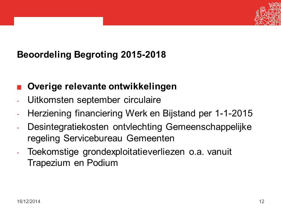 Beoordeling Begroting 2015-2018 Overige relevante ontwikkelingen - Uitkomsten september circulaire - Herziening financiering Werk en Bijstand per 1-1-2015 - Desintegratiekosten ontvlechting Gemeenschappelijke regeling Servicebureau Gemeenten - Toekomstige grondexploitatieverliezen o.a.