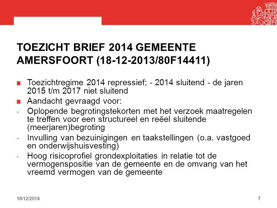 TOEZICHT BRIEF 2014 GEMEENTE AMERSFOORT (18-12-2013/80F14411) Toezichtregime 2014 repressief; - 2014 sluitend - de jaren 2015 t/m 2017 niet sluitend Aandacht gevraagd voor: - Oplopende begrotingstekorten met het verzoek maatregelen te treffen voor een structureel en reëel sluitende (meerjaren)begroting - Invulling van bezuinigingen en taakstellingen (o.a.