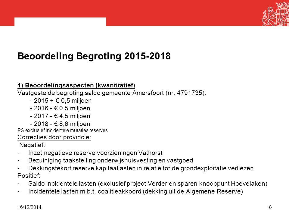 Beoordeling Begroting 2015-2018 1) Beoordelingsaspecten (kwantitatief) Vastgestelde begroting saldo gemeente Amersfoort (nr.