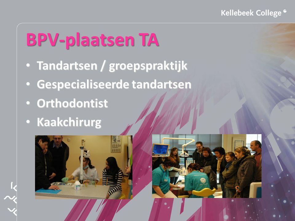 BPV-plaatsen TA Tandartsen / groepspraktijk Tandartsen / groepspraktijk Gespecialiseerde tandartsen Gespecialiseerde tandartsen Orthodontist Orthodontist Kaakchirurg Kaakchirurg