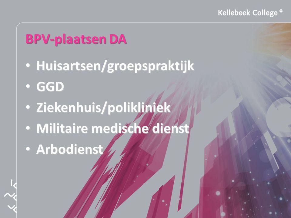 BPV-plaatsen DA Huisartsen/groepspraktijk Huisartsen/groepspraktijk GGD GGD Ziekenhuis/polikliniek Ziekenhuis/polikliniek Militaire medische dienst Militaire medische dienst Arbodienst Arbodienst