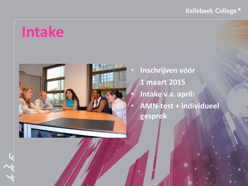 Intake Inschrijven vóór 1 maart 2015 Intake v.a. april: AMN-test + individueel gesprek