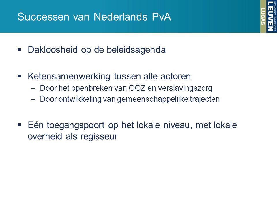 Successen van Nederlands PvA  Dakloosheid op de beleidsagenda  Ketensamenwerking tussen alle actoren –Door het openbreken van GGZ en verslavingszorg –Door ontwikkeling van gemeenschappelijke trajecten  Eén toegangspoort op het lokale niveau, met lokale overheid als regisseur