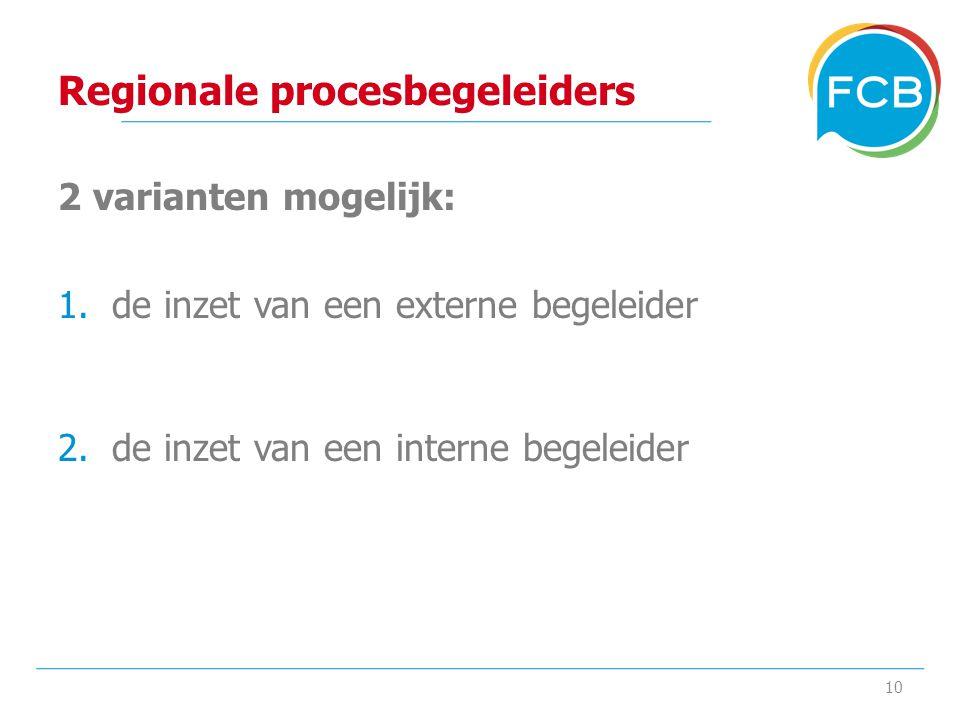 Regionale procesbegeleiders 2 varianten mogelijk: 1.de inzet van een externe begeleider 2.de inzet van een interne begeleider 10