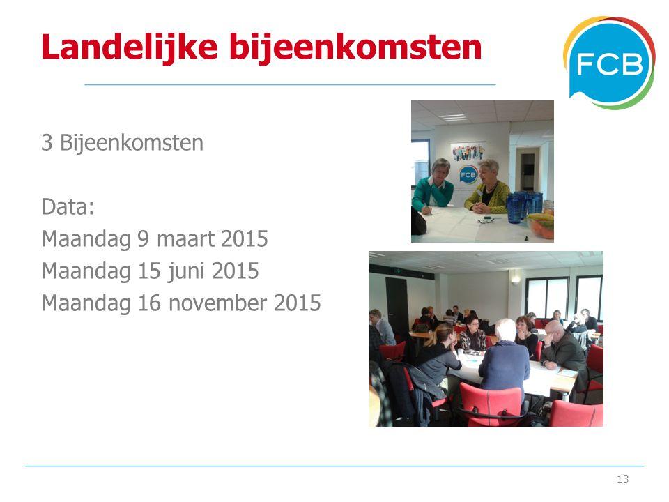 Landelijke bijeenkomsten 3 Bijeenkomsten Data: Maandag 9 maart 2015 Maandag 15 juni 2015 Maandag 16 november 2015 13