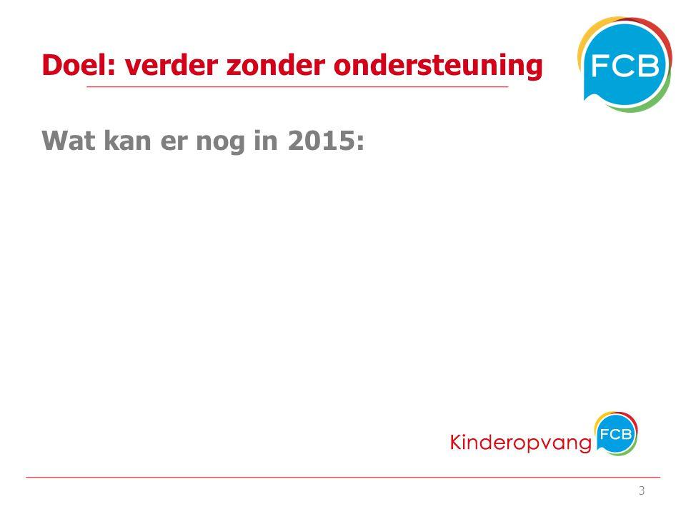 Doel: verder zonder ondersteuning Wat kan er nog in 2015: 3