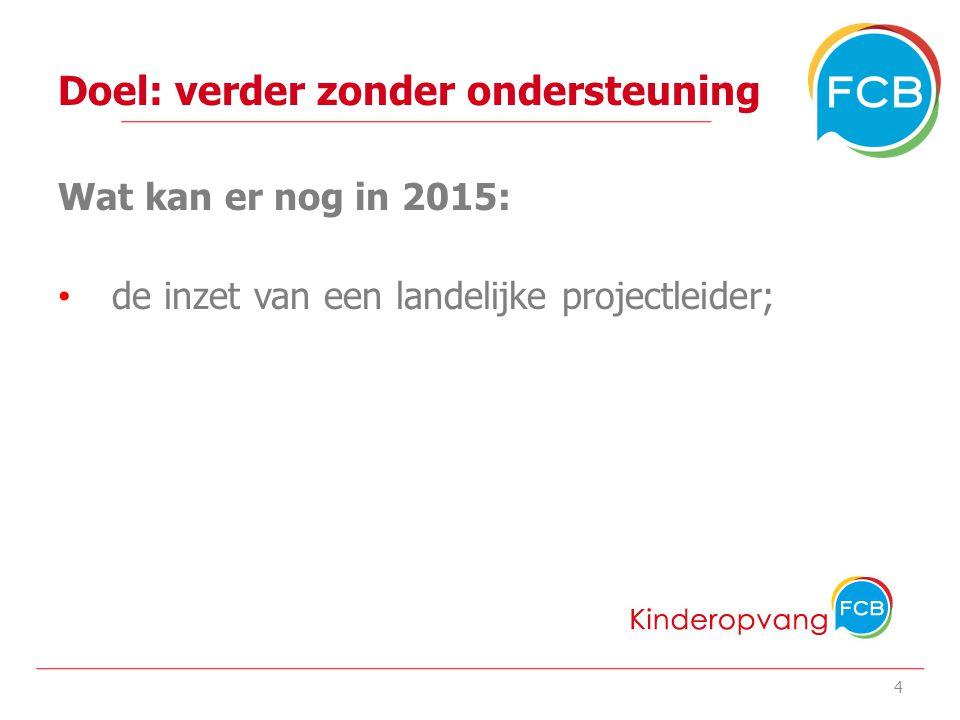 Doel: verder zonder ondersteuning Wat kan er nog in 2015: de inzet van een landelijke projectleider; 4