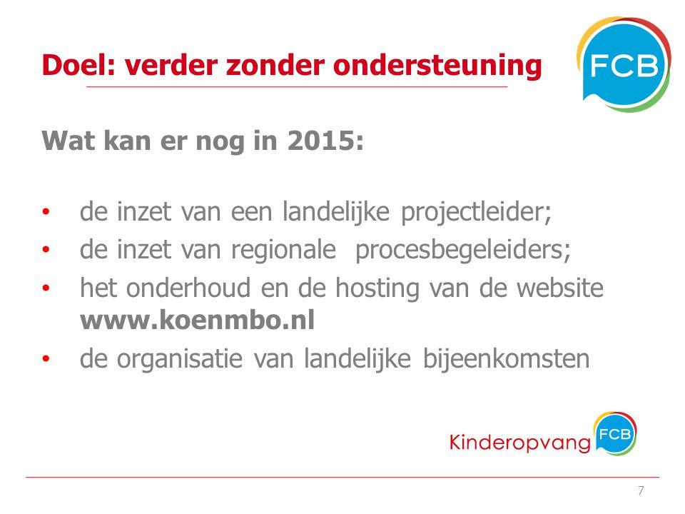 Doel: verder zonder ondersteuning Wat kan er nog in 2015: de inzet van een landelijke projectleider; de inzet van regionale procesbegeleiders; het onderhoud en de hosting van de website www.koenmbo.nl de organisatie van landelijke bijeenkomsten de inzet van projectondersteuners bij de 4 experimenten 8