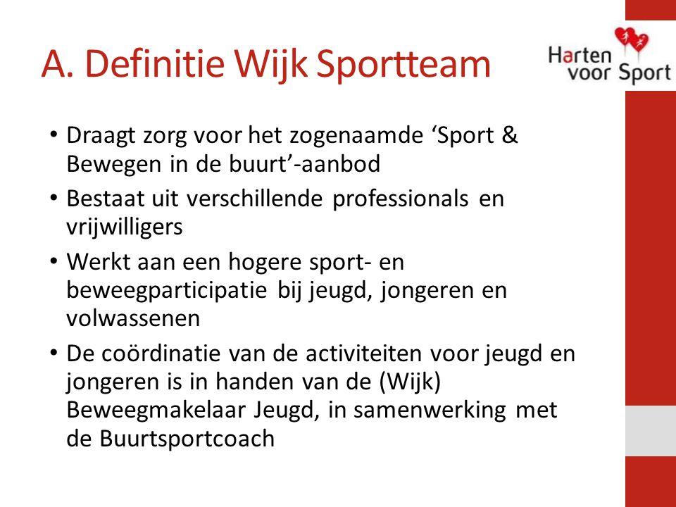 A. Definitie Wijk Sportteam Draagt zorg voor het zogenaamde 'Sport & Bewegen in de buurt'-aanbod Bestaat uit verschillende professionals en vrijwillig