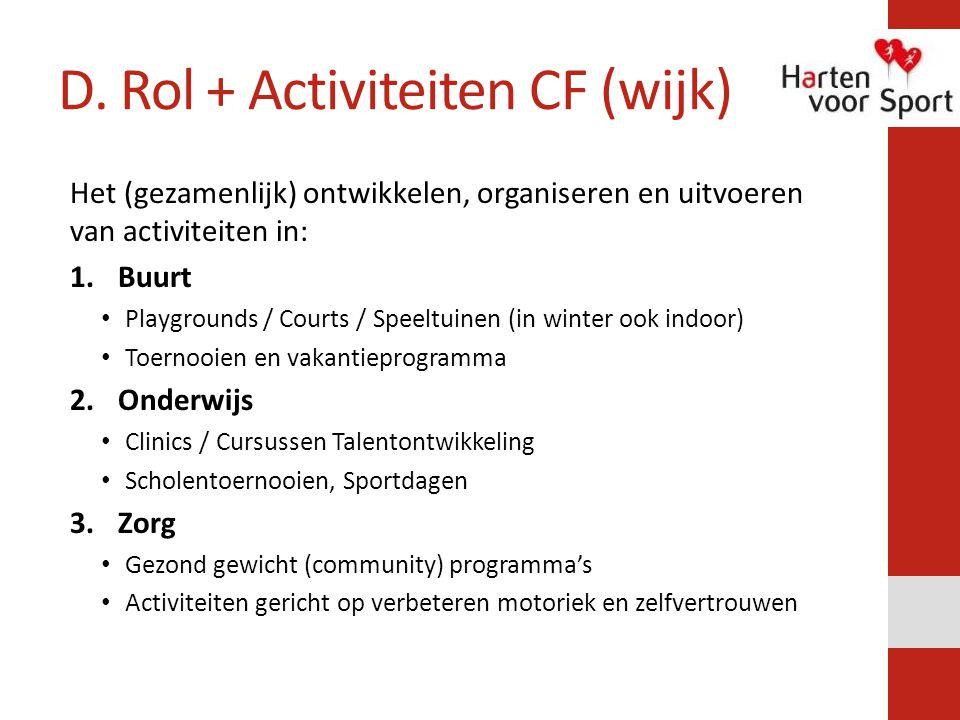 D. Rol + Activiteiten CF (wijk) Het (gezamenlijk) ontwikkelen, organiseren en uitvoeren van activiteiten in: 1.Buurt Playgrounds / Courts / Speeltuine