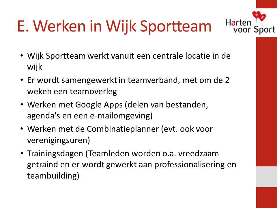E. Werken in Wijk Sportteam Wijk Sportteam werkt vanuit een centrale locatie in de wijk Er wordt samengewerkt in teamverband, met om de 2 weken een te