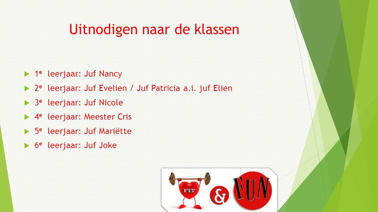 Uitnodigen naar de klassen  1 e leerjaar: Juf Nancy  2 e leerjaar: Juf Evelien / Juf Patricia a.i.
