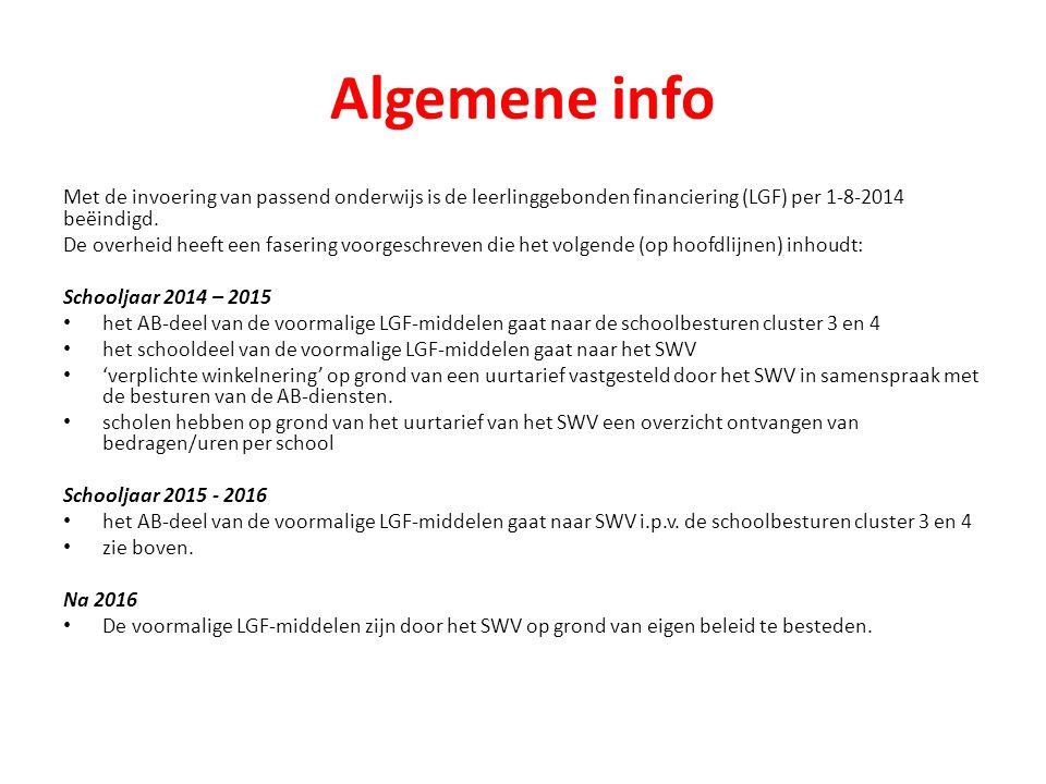 Algemene info Met de invoering van passend onderwijs is de leerlinggebonden financiering (LGF) per 1-8-2014 beëindigd.