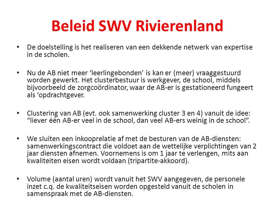 Beleid SWV Rivierenland De doelstelling is het realiseren van een dekkende netwerk van expertise in de scholen. Nu de AB niet meer 'leerlingebonden' i